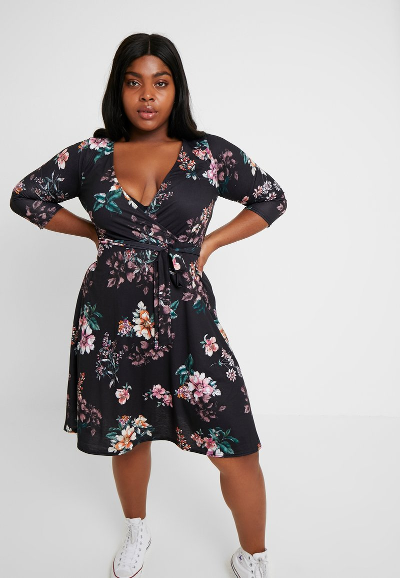 Dorothy Perkins Curve - WRAP DRESS FLORAL - Jerseykjoler - black