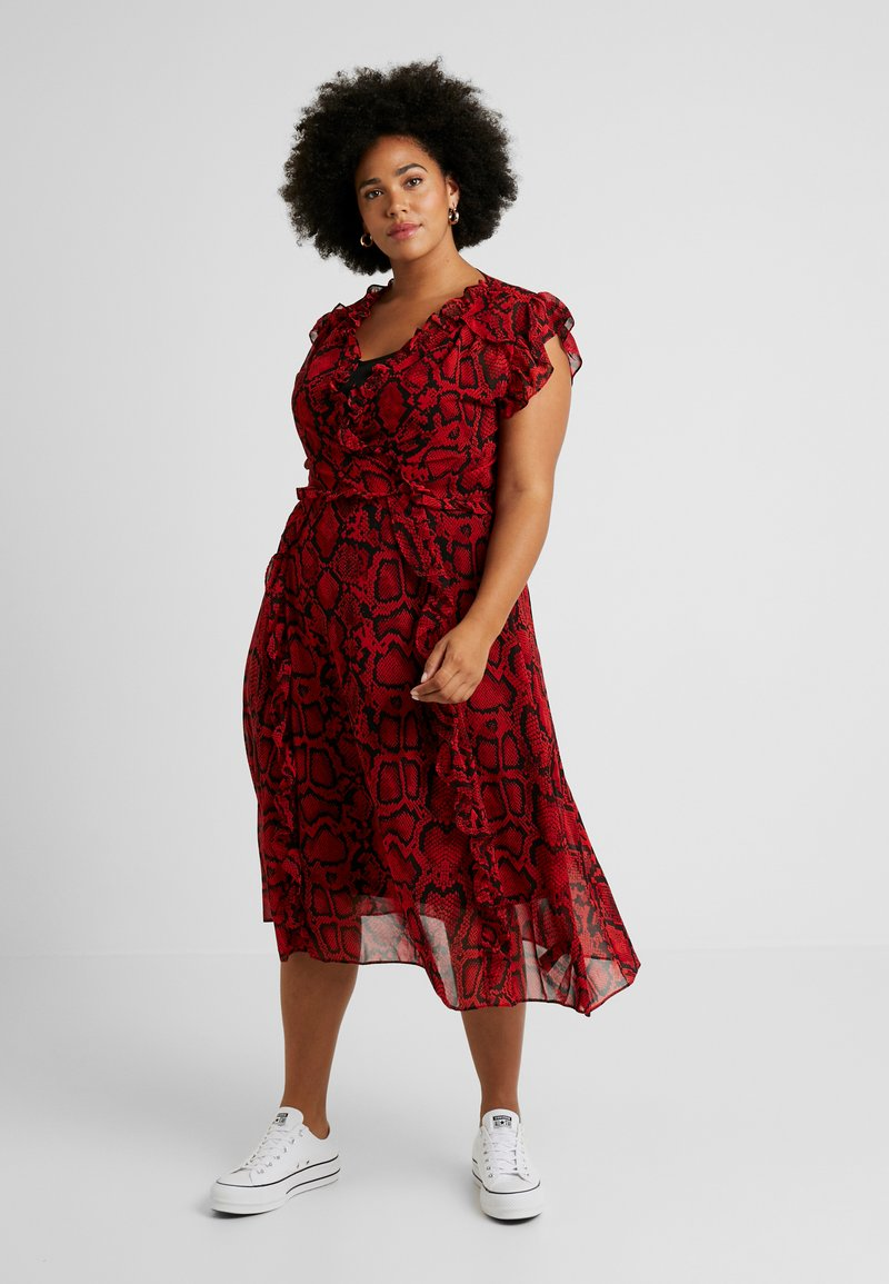 Dorothy Perkins Curve - RUFFLE MIDI DRESS RUBY SNAKE - Day dress - red