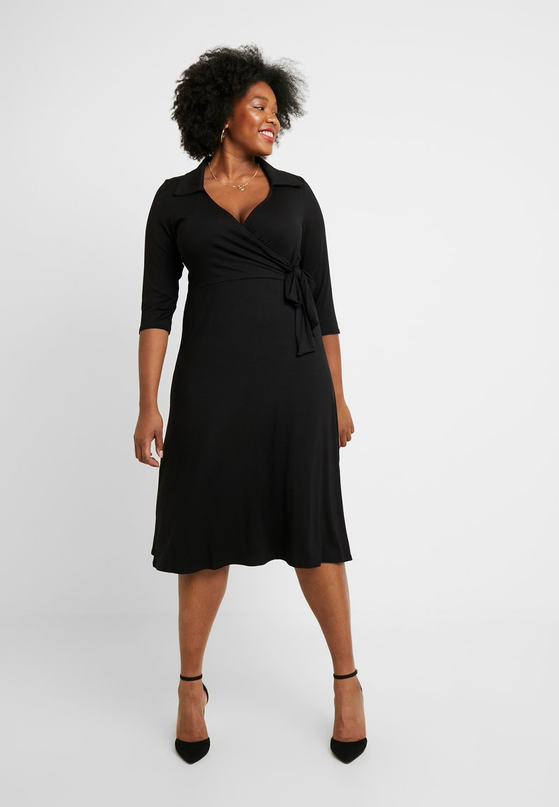 Dorothy Perkins Curve - OPEN COLLAR DRESS - Sukienka z dżerseju - black