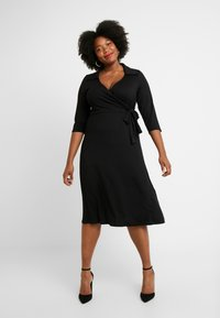Dorothy Perkins Curve - OPEN COLLAR DRESS - Sukienka z dżerseju - black - 2
