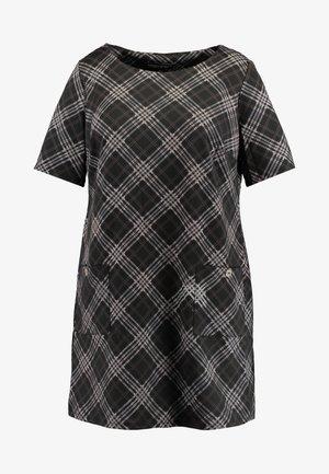 CHECK TUNIC - Jersey dress - black