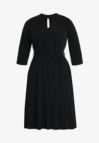 Dorothy Perkins Curve - PLEAT NECK 3/4 SLEEVE DRESS - Žerzejové šaty - black - 4