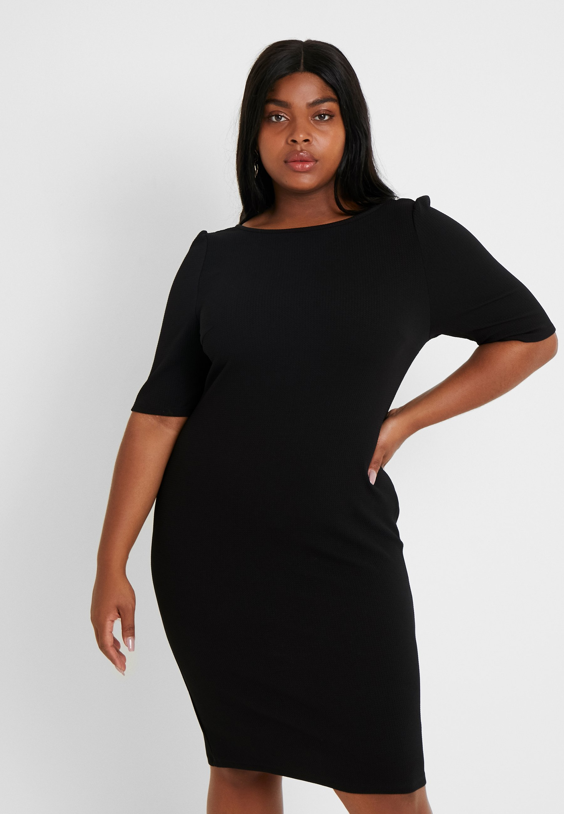 Dorothy Perkins Curve TEXTURED BODYCON - Tubino black