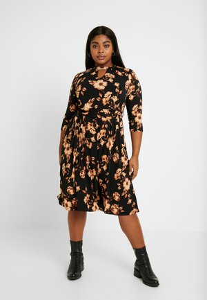 FLORAL PLEAT NECK DRESS - Trikoomekko - multi