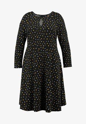 SPOT KEYHOLE DRESS - Jersey dress - black