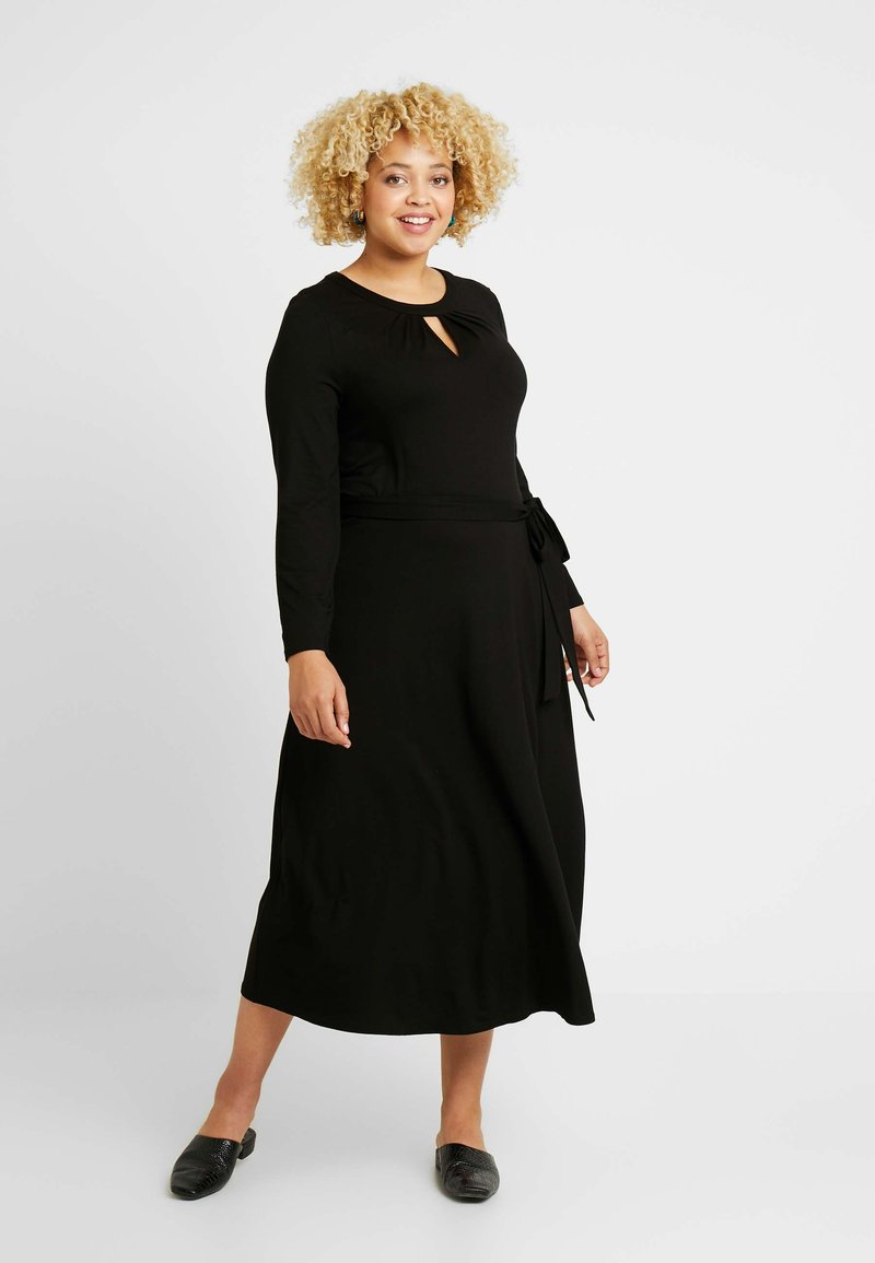 Dorothy Perkins Curve - KEYHOLE MIDI DRESS - Jerseykjole - black