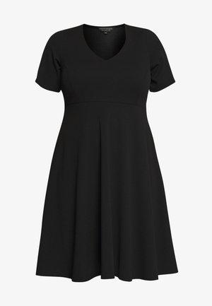 V NECK DRESS - Vestito di maglina - black