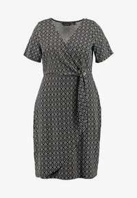 Dorothy Perkins Curve - GEO PRINT SHORT SLEEVE RING WRAP - Vestido ligero - black - 4