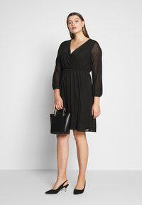 Dorothy Perkins Curve - SPOT WRAP DRESS - Robe d'été - black - 1
