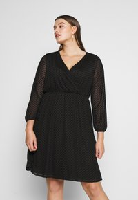 Dorothy Perkins Curve - SPOT WRAP DRESS - Robe d'été - black - 0