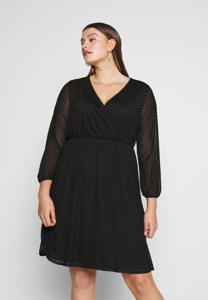 Dorothy Perkins Curve - SPOT WRAP DRESS - Robe d'été - black