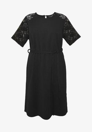 LACE SHOULDER BELTED SHIFT DRESS - Vestito elegante - black