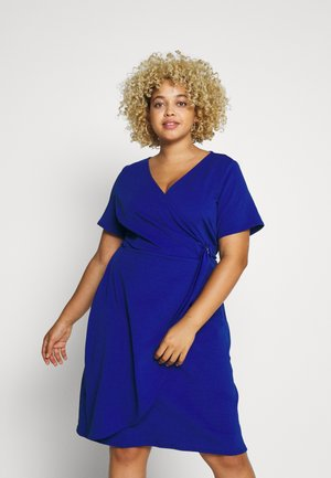 SHORT SLEEVE D-RING WRAP - Robe fourreau - cobalt