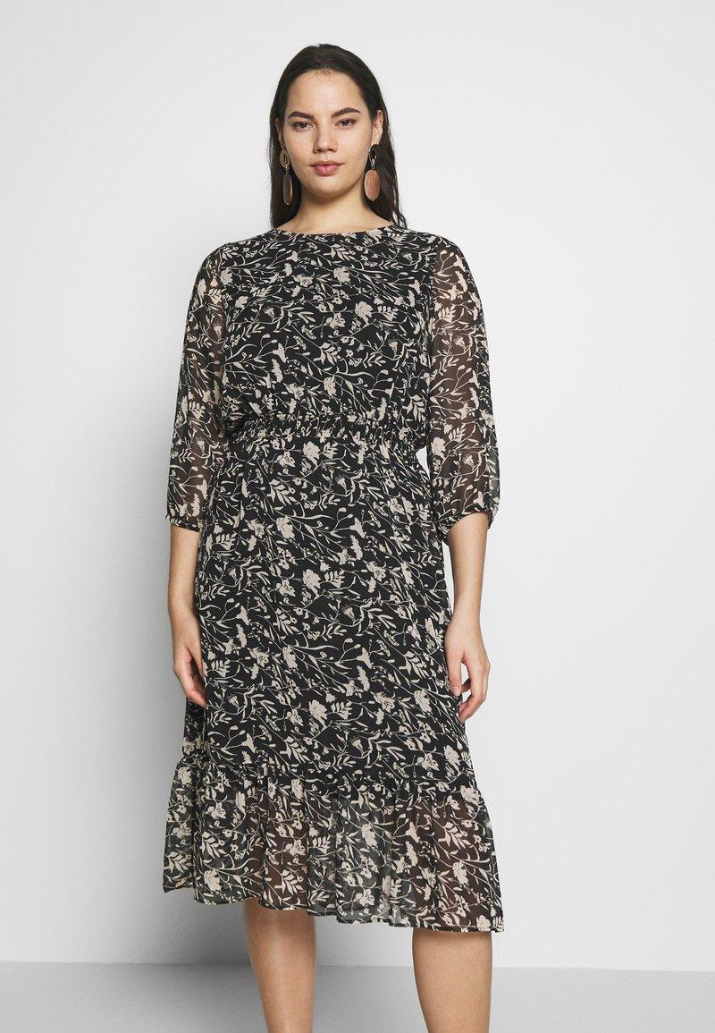 Dorothy Perkins Curve - CURVE MONO FLORAL MIDAXI DRESS - Denní šaty - multicoloured