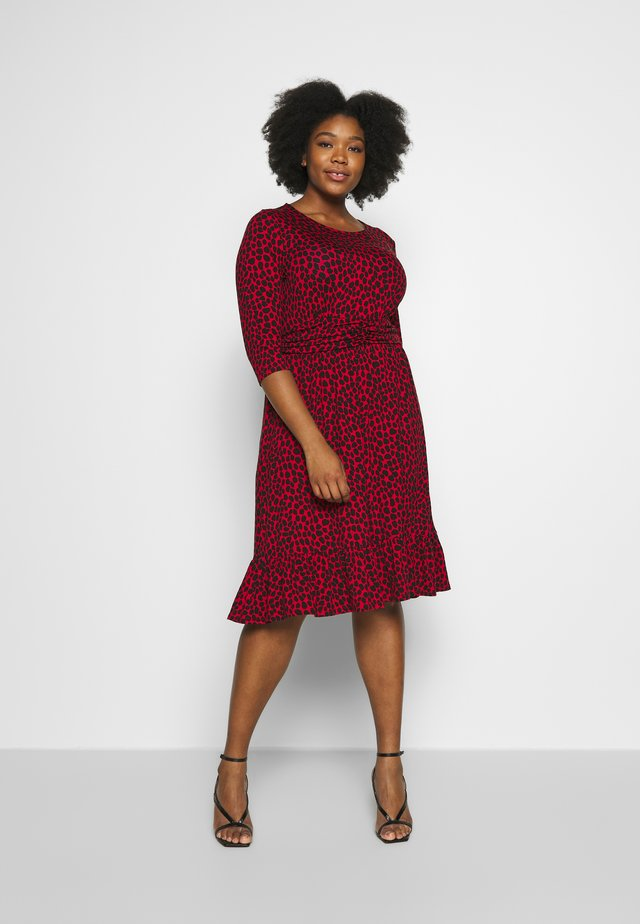 BAND WAIST PRINT DRESS - Trikoomekko - red