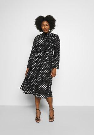 CURVE MONO SPOT NECK  - Shirt dress - black