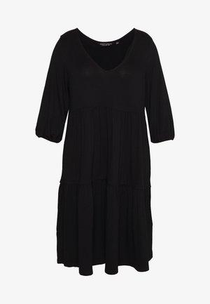 V NECK SMOCK - Vestido ligero - black