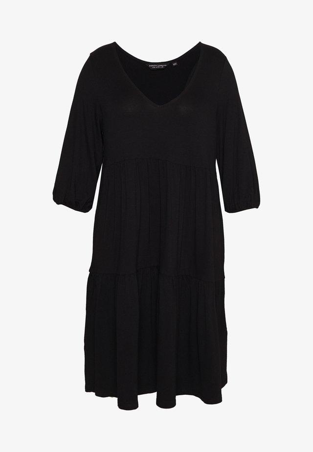 V NECK SMOCK - Jersey dress - black