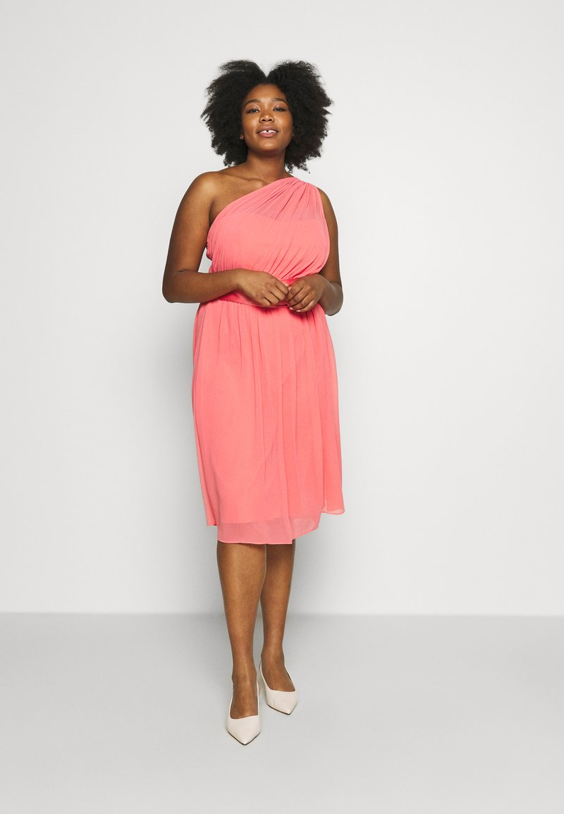 Dorothy Perkins Curve - JENNI ONE SHOULDER MIDI DRESS - Sukienka koktajlowa - coral
