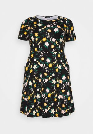 FLORAL DRESS - Jerseykjoler - black/yellow
