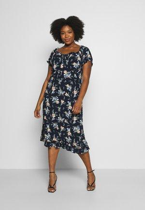 FLORAL MILKMAID CRINKLE DRESS - Denní šaty - navy