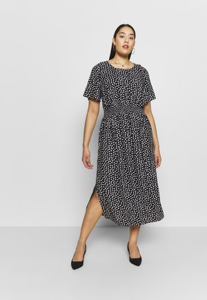 SPOT SHIRRED WAIST MIDI DRESS - Day dress - black