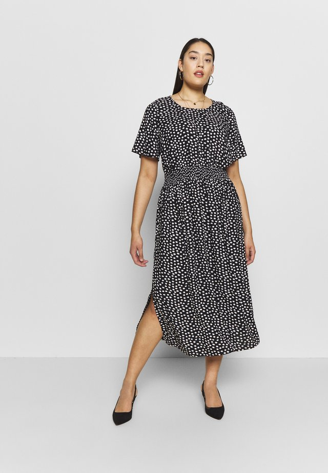 SPOT SHIRRED WAIST MIDI DRESS - Vapaa-ajan mekko - black