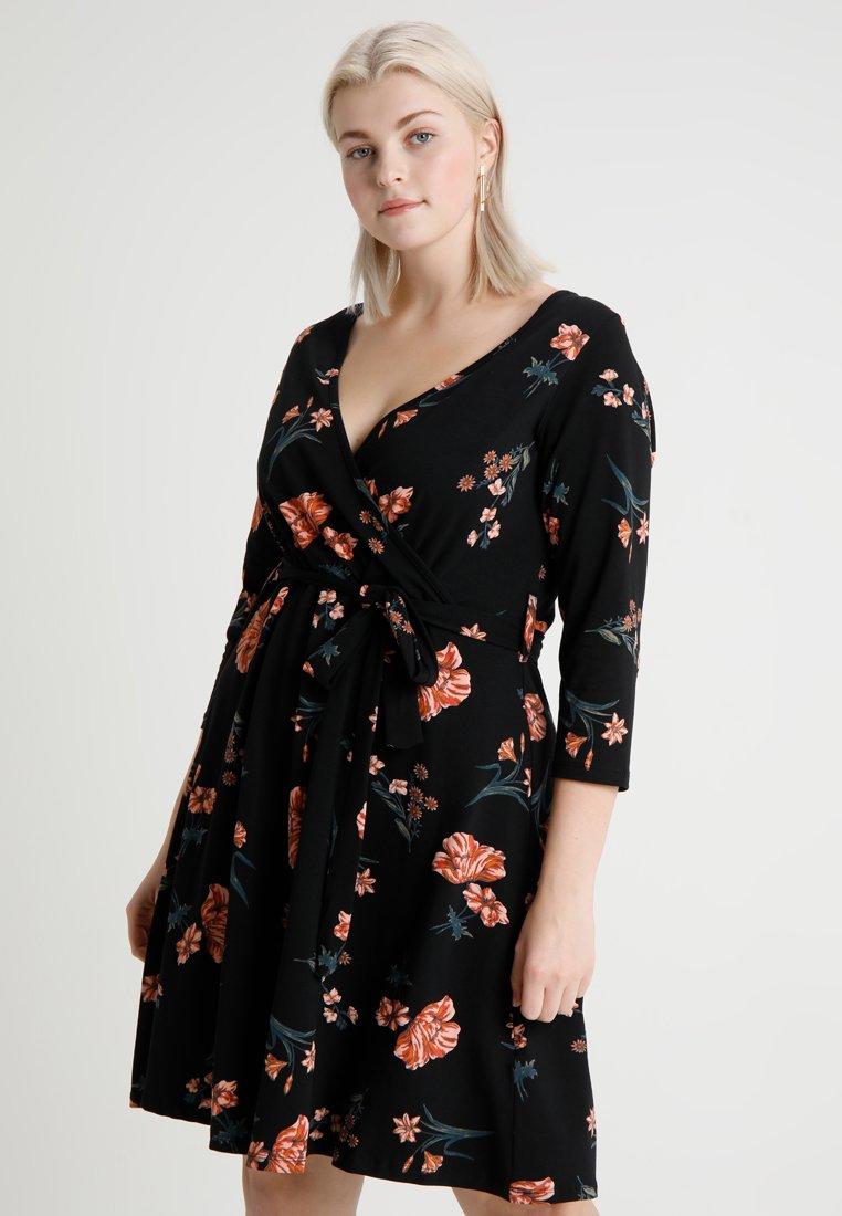 Dorothy Perkins Curve - WRAP SELF TIE DRESS FLORAL PRINT - Jerseyjurk - black base
