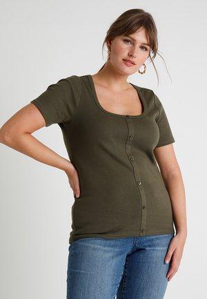 BUTTON DOWN - Print T-shirt - khaki