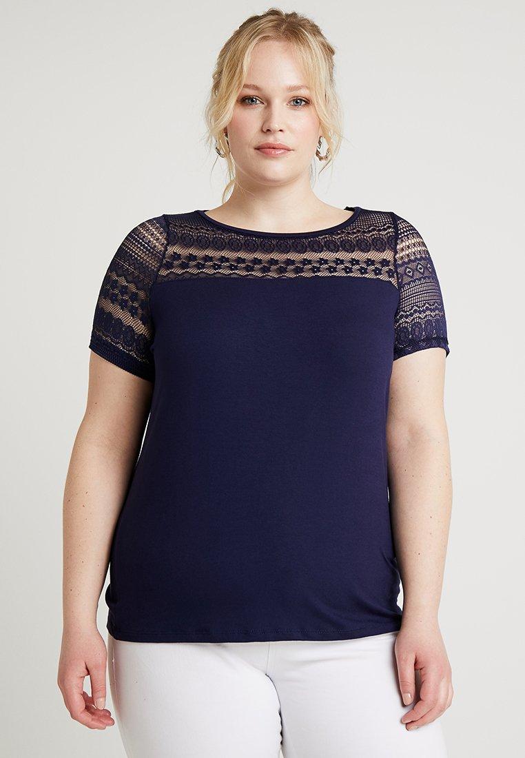 Dorothy Perkins Curve - YOKE TEE - Print T-shirt - navy