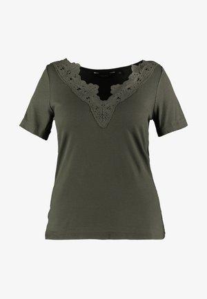 TRIM V NECK - T-shirt print - olive