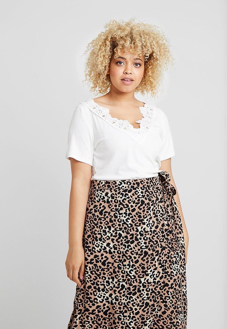 Dorothy Perkins Curve - TRIM V NECK - T-Shirt print - white