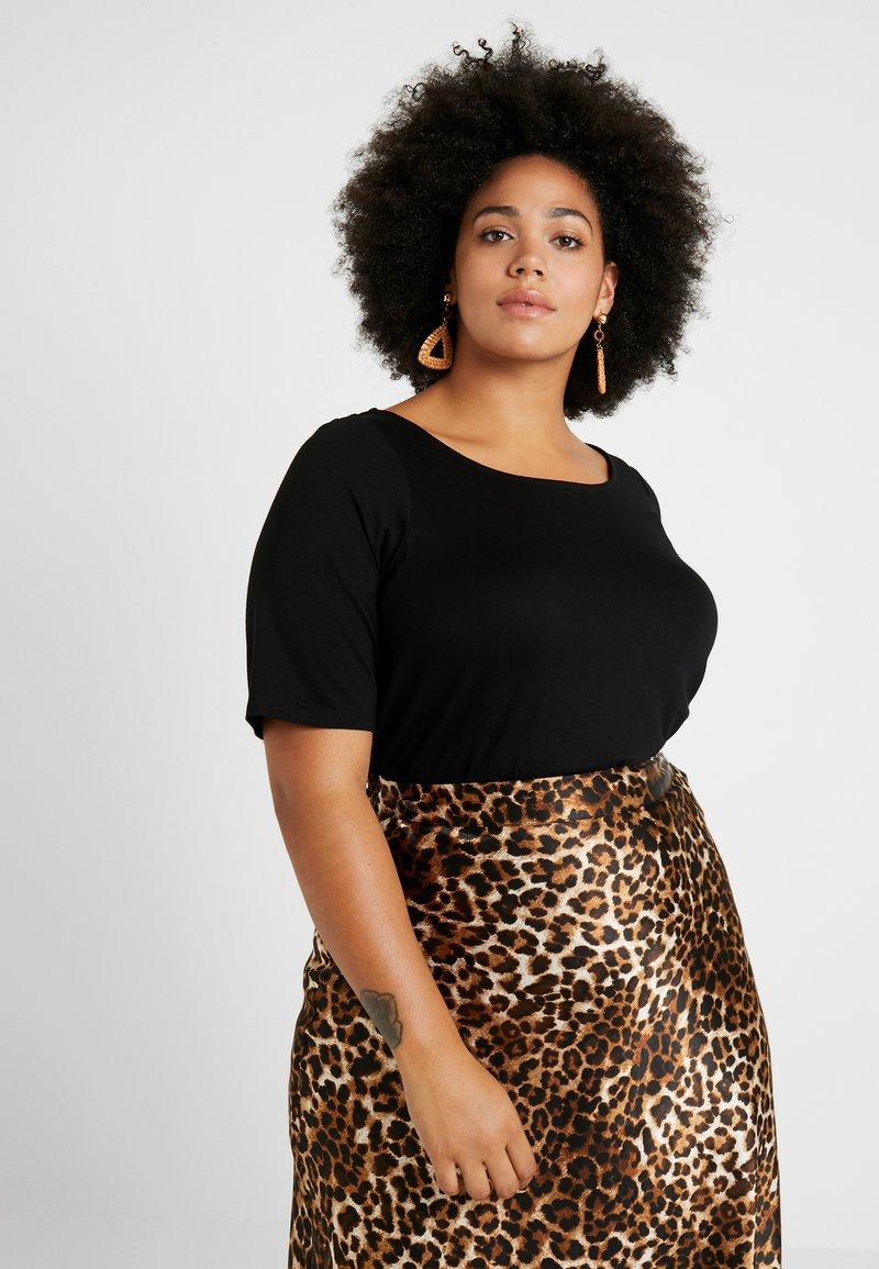 Dorothy Perkins Curve - CROSS BACK - Print T-shirt - black