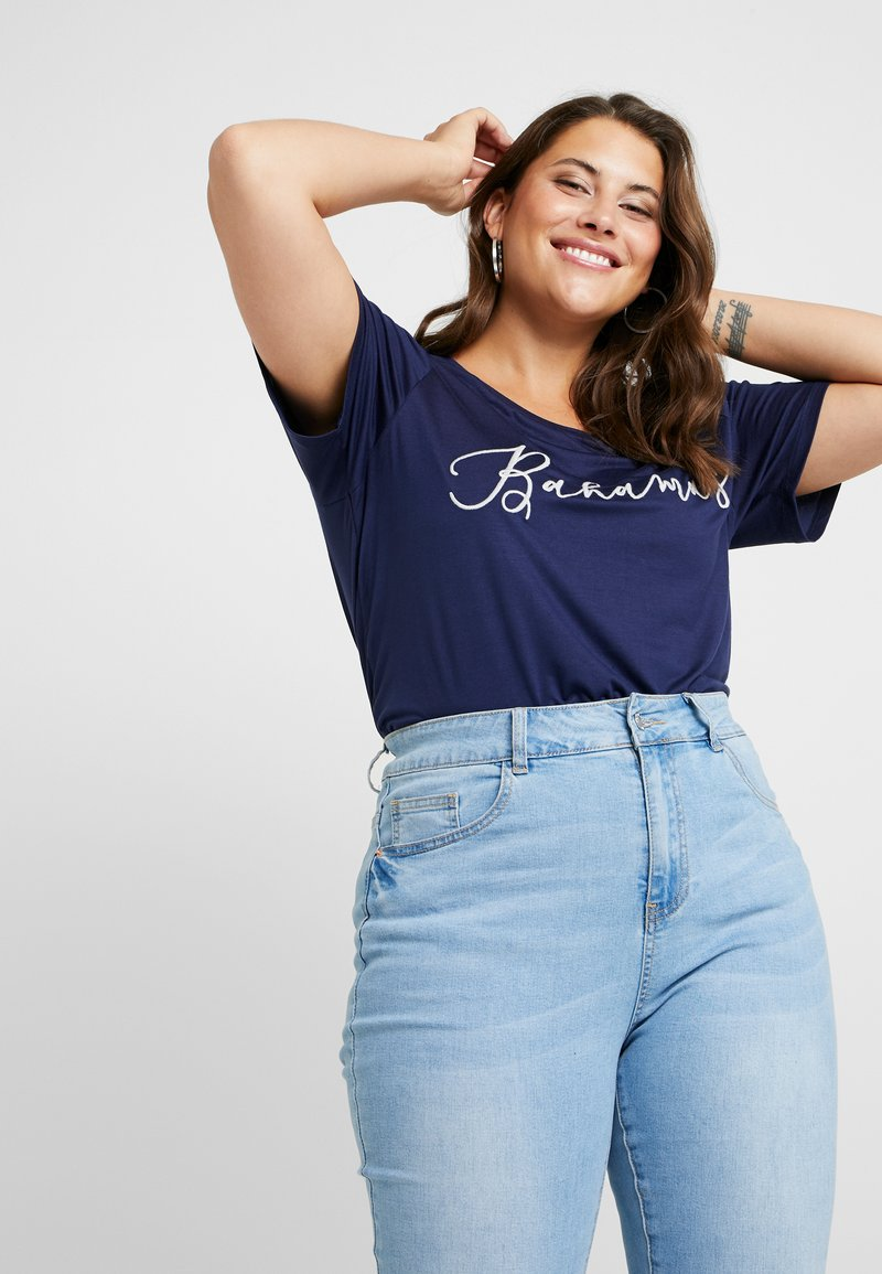 Dorothy Perkins Curve - BAHAMAS MOTIF TEE - Print T-shirt - navy