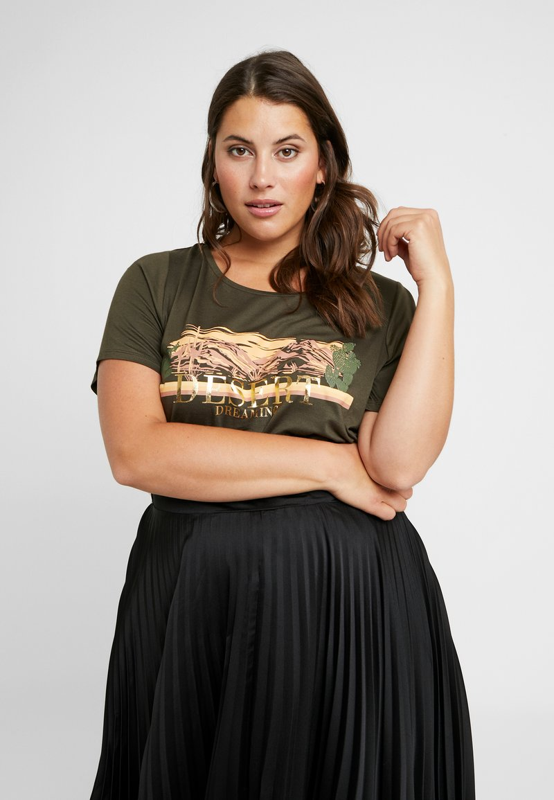 Dorothy Perkins Curve - DESERT DREAMING MOTIF TEE - T-Shirt print - khaki