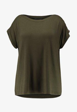 BUTTON SHOULDER BOAT NECK TEE  - Print T-shirt - khaki