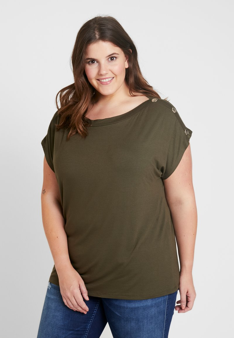 Dorothy Perkins Curve - BUTTON SHOULDER BOAT NECK TEE  - T-Shirt print - khaki