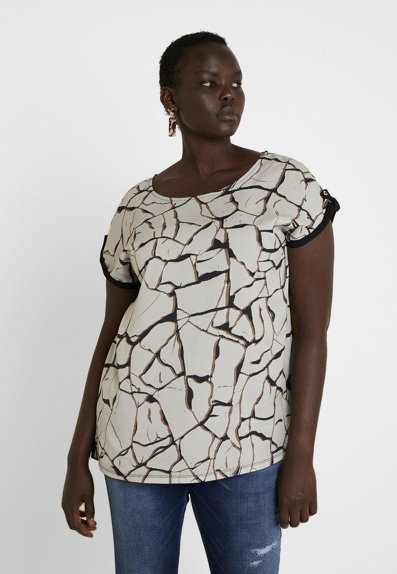 Dorothy Perkins Curve - FRONT CRACKLE - Bluse - black/white