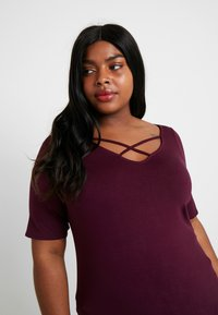 Dorothy Perkins Curve - LONG SLEEVE CROSS FRONT  - T-shirt imprimé - mauve