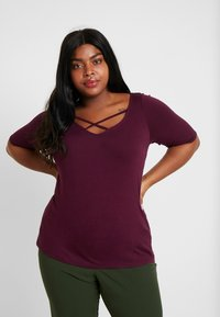 Dorothy Perkins Curve - LONG SLEEVE CROSS FRONT  - T-shirts med print - mauve - 0