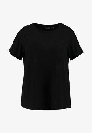 CROCHET SHOULDER SLUB TEE - T-shirts med print - black
