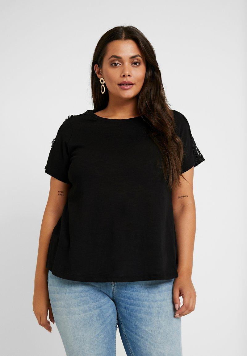 Dorothy Perkins Curve - CROCHET SHOULDER SLUB TEE - T-Shirt print - black