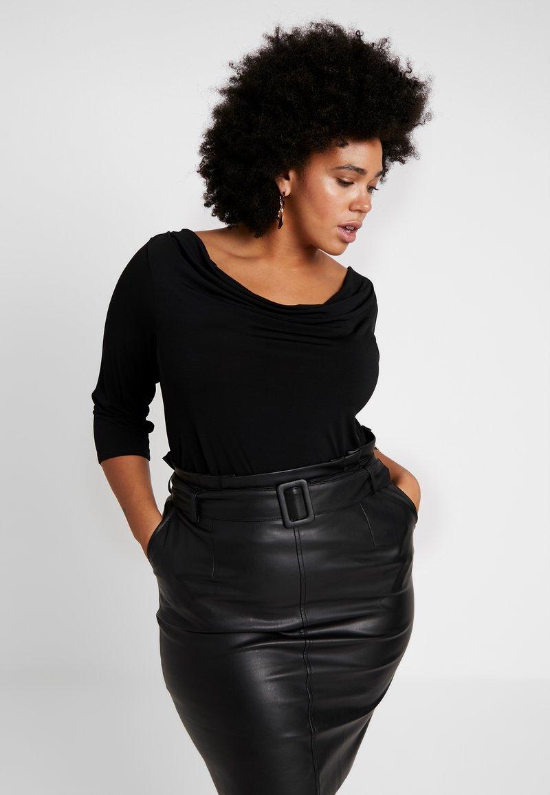 Dorothy Perkins Curve - COWL NECK - Langærmede T-shirts - black