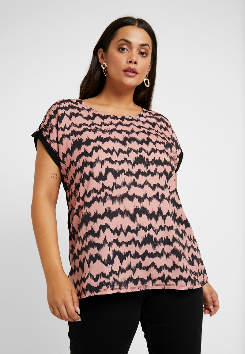 Dorothy Perkins Curve - LINEAR TIE DYE PRINT FRONT TEE - Bluse - pink