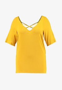 Dorothy Perkins Curve - CROSS FRONT AND BACK - T-shirt basique - ochre - 4