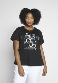 Dorothy Perkins Curve - AMOUR MOTIF TEE - T-shirt imprimé - black - 0