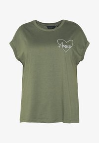 Dorothy Perkins Curve - HEART MOTIF TEE - T-shirt con stampa - khaki - 3