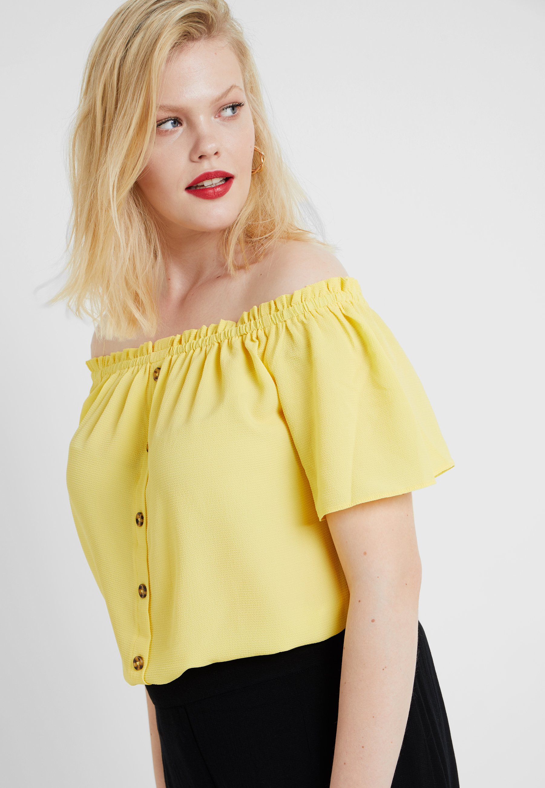 Perkins Lemon Down Curve Button BardotBlouse Dorothy MzpVSU
