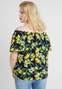 Dorothy Perkins Curve - BUTTON DOWN BARDOT LEMON PRINT - Blouse - navy - 2
