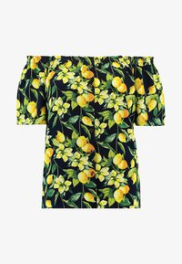 Dorothy Perkins Curve - BUTTON DOWN BARDOT LEMON PRINT - Blouse - navy - 4